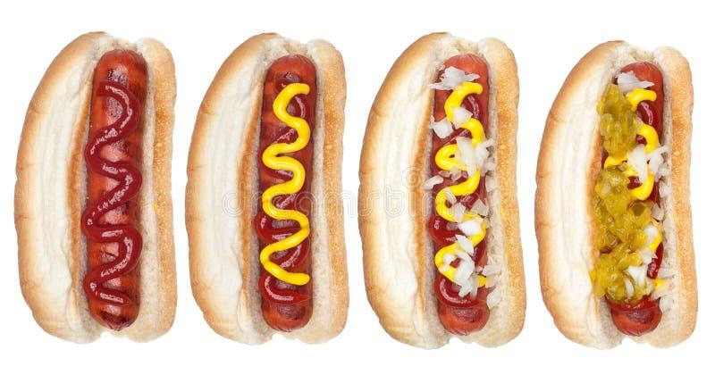 Coleção dos hotdogs fotos de stock