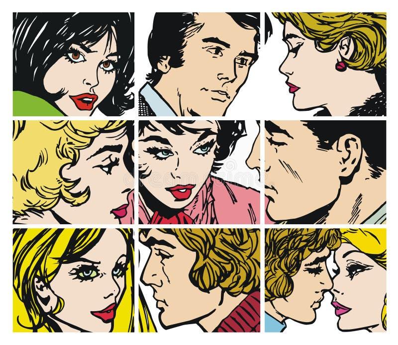Coleção dos ilustrations com pares no amor ilustração stock