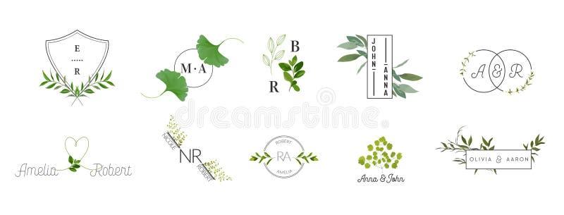 A coleção dos logotipos do monograma do casamento, moldes rústicos da aquarela e florais modernos para cartões do convite, salvar ilustração royalty free