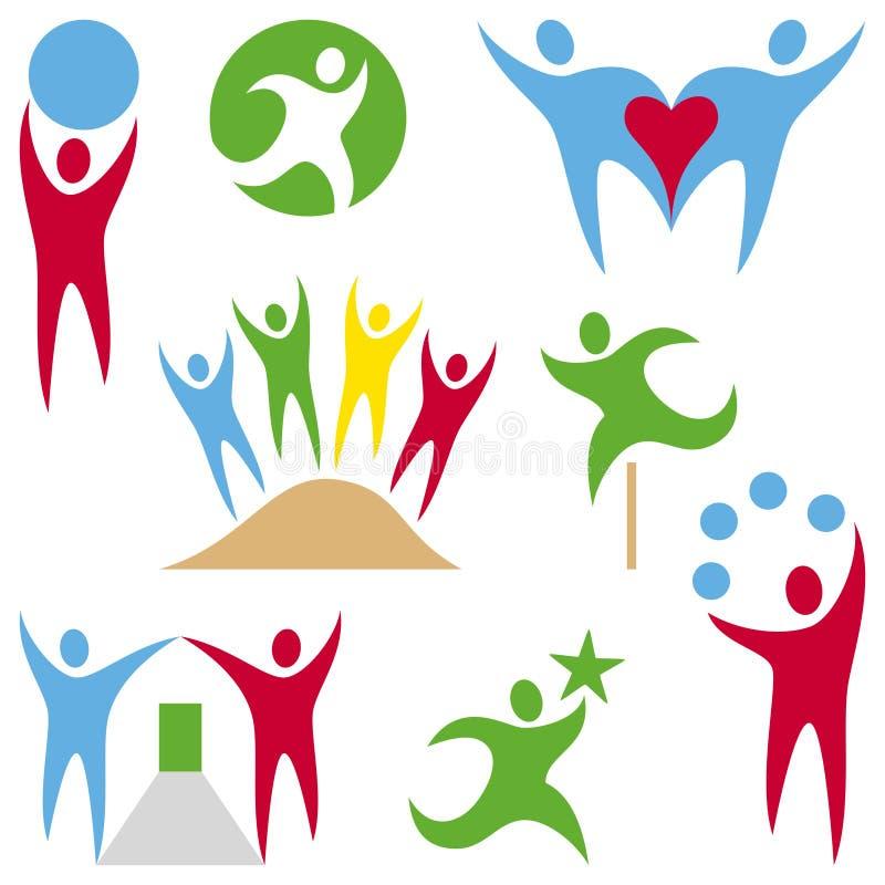 Coleção dos logotipos dos povos ilustração royalty free