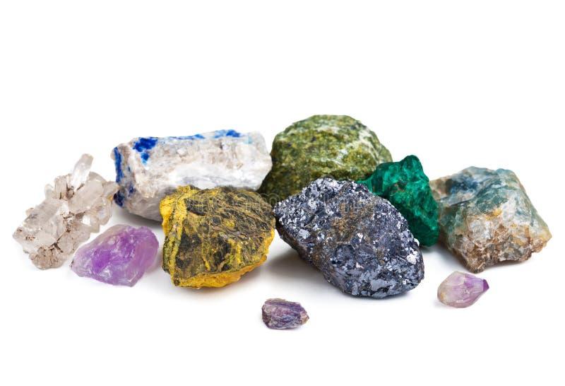 Coleção dos minerais isolados fotografia de stock royalty free