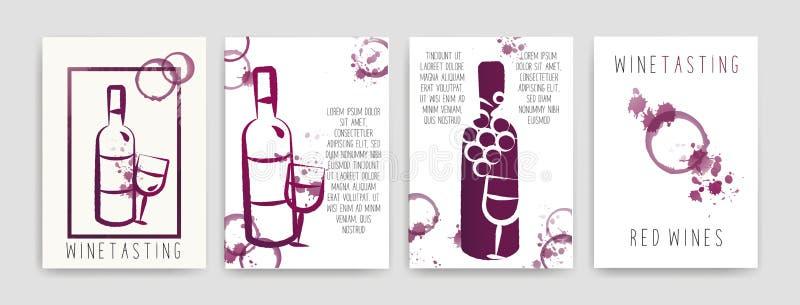 Coleção dos moldes com projetos do vinho Folhetos, cartazes, cartões do convite, bandeiras da promoção, menus Manchas do vinho CM ilustração do vetor