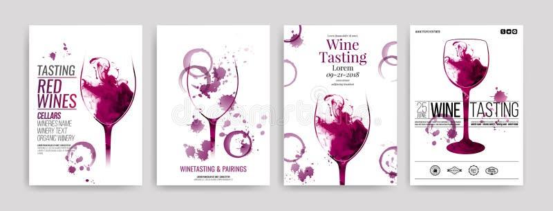 Coleção dos moldes com projetos do vinho Folhetos, cartazes, cartões do convite, bandeiras da promoção, menus Manchas do vinho, g ilustração stock