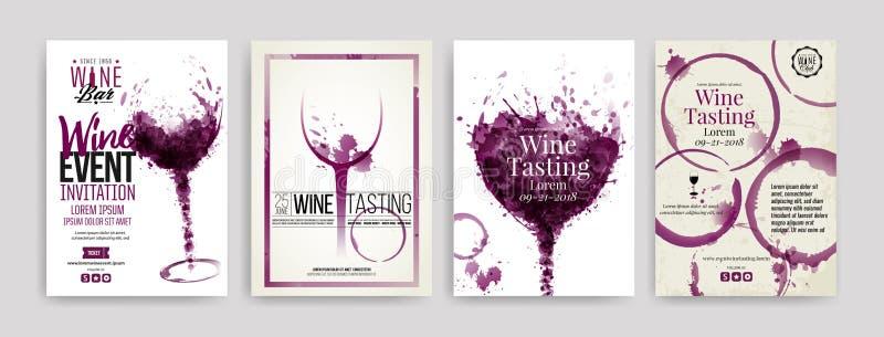 Coleção dos moldes com projetos do vinho Folhetos, cartazes, cartões do convite, bandeiras da promoção, menus Manchas do vinho, g ilustração royalty free