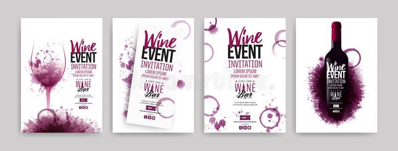 Coleção dos moldes com projetos do vinho Folhetos, cartazes, cartões do convite, bandeiras da promoção, menus O vinho mancha o fu ilustração do vetor