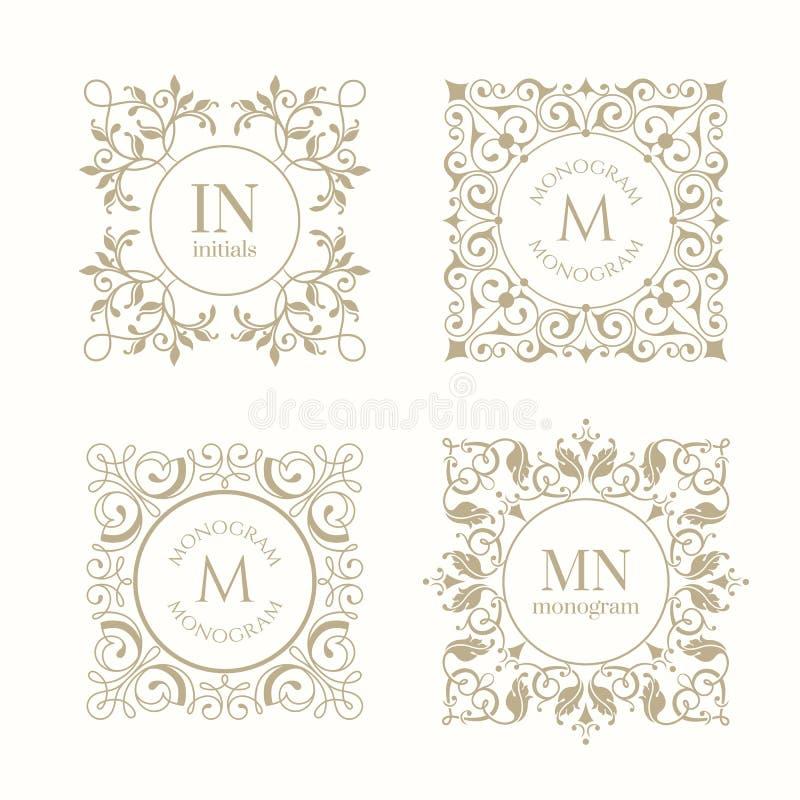 Coleção dos monogramas ilustração royalty free