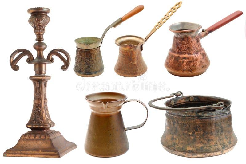 Coleção dos objetos de bronze fotos de stock royalty free