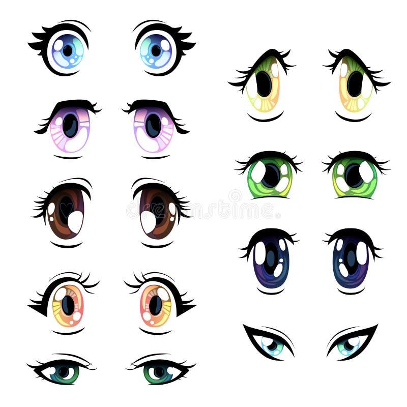 Coleção dos olhos brilhantes de cores diferentes, olhos bonitos com reflexões claras Manga Japanese Style Vetora ilustração stock