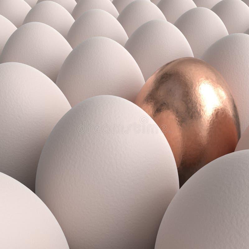 Cole??o dos ovos com o um ovo dourado ilustração royalty free