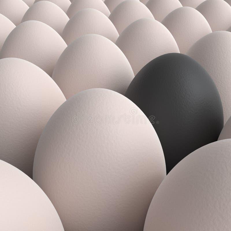 Cole??o dos ovos com o um ovo preto ilustração royalty free