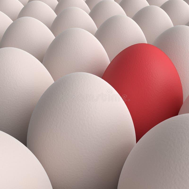 Cole??o dos ovos com o um ovo vermelho ilustração do vetor