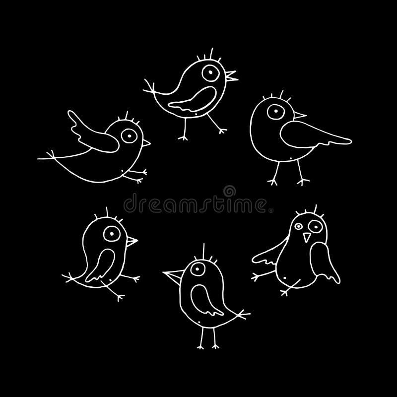 Coleção dos pássaros do vetor dos desenhos animados ilustração royalty free