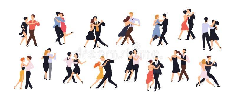 Coleção dos pares de dançarinos isolados no fundo branco Homens e mulheres que executam a dança na escola, estúdio, partido ilustração stock