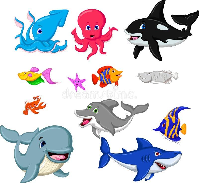 Coleção dos peixes dos desenhos animados ilustração do vetor