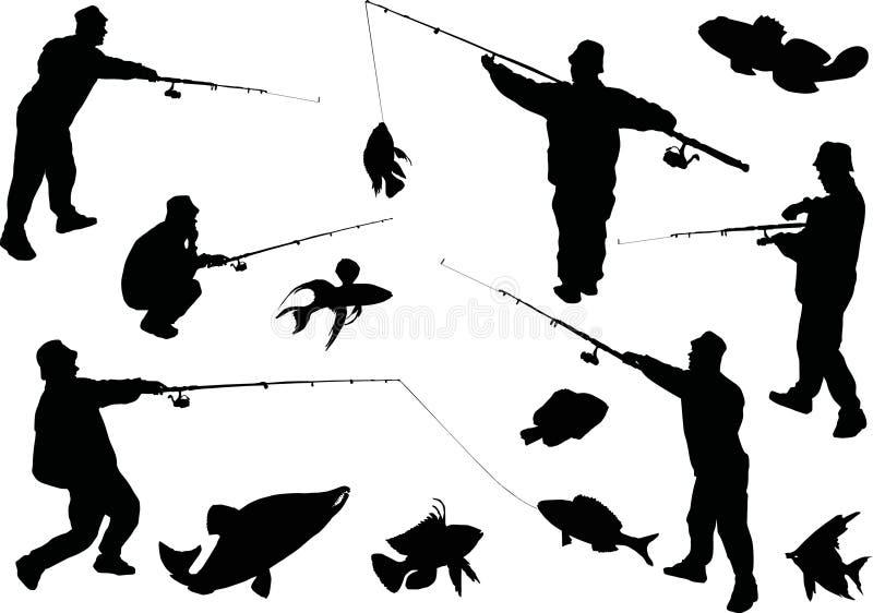 Coleção dos pescadores e dos peixes ilustração do vetor