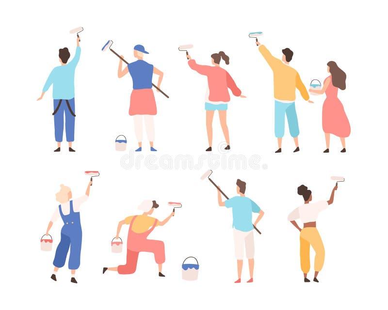 Coleção dos pintores masculinos e fêmeas que guardam rolos de pintura e que pintam ou que escrevem anunciando o texto na parede G ilustração stock