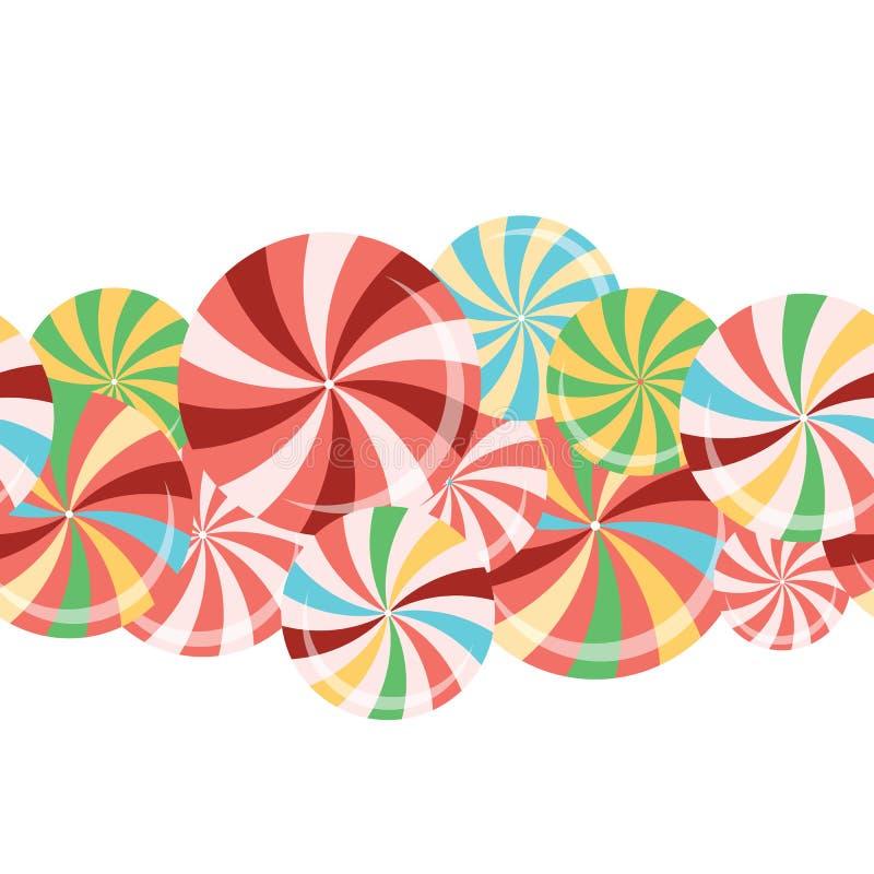 Coleção dos pirulitos Doces coloridos na vara com projeto torcido ilustração do vetor