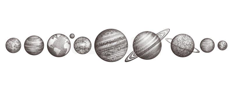 Coleção dos planetas no sistema solar Estilo da gravura Grupo elegante da ciência do vintage Geometria sagrado, mágica, esotérico ilustração do vetor