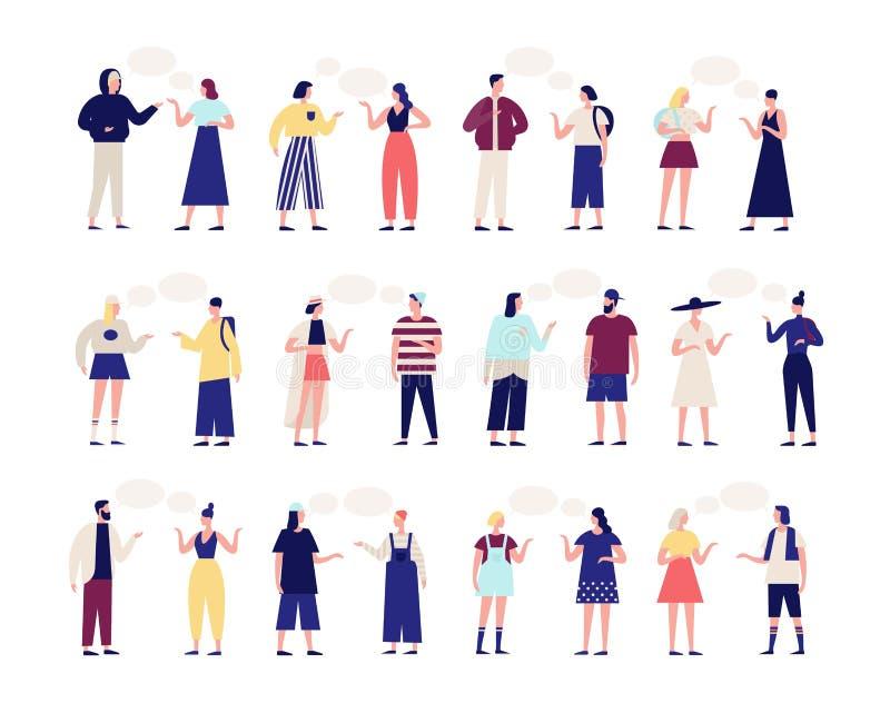 Coleção dos povos que falam entre si Pacote de homens e de mulheres com os balões de discurso isolados no fundo branco ilustração stock