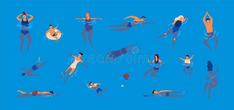 Coleção dos povos vestidos no roupa de banho na piscina Pacote de homens e de mulheres nos roupas de banho que executam a água ilustração royalty free