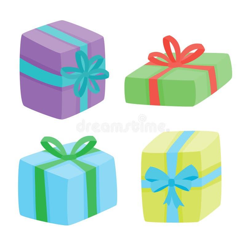 Coleção dos presentes de Natal Ilustração do vetor de presentes dos desenhos animados ilustração stock