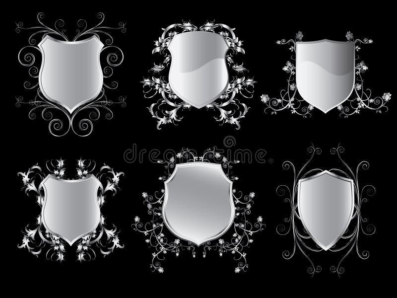Coleção dos protetores do emblema ilustração do vetor