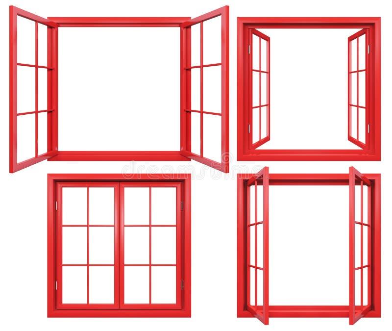 Coleção dos quadros de janela vermelhos isolados no branco ilustração stock