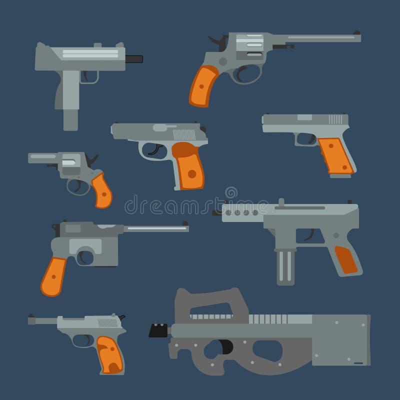 Coleção dos revólveres do vetor das armas ilustração do vetor