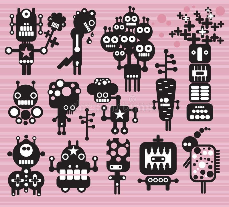 Coleção #14 dos robôs e dos monstro. ilustração royalty free