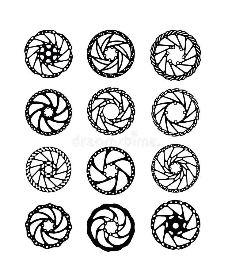Coleção dos rotores do disco da bicicleta ilustração do vetor