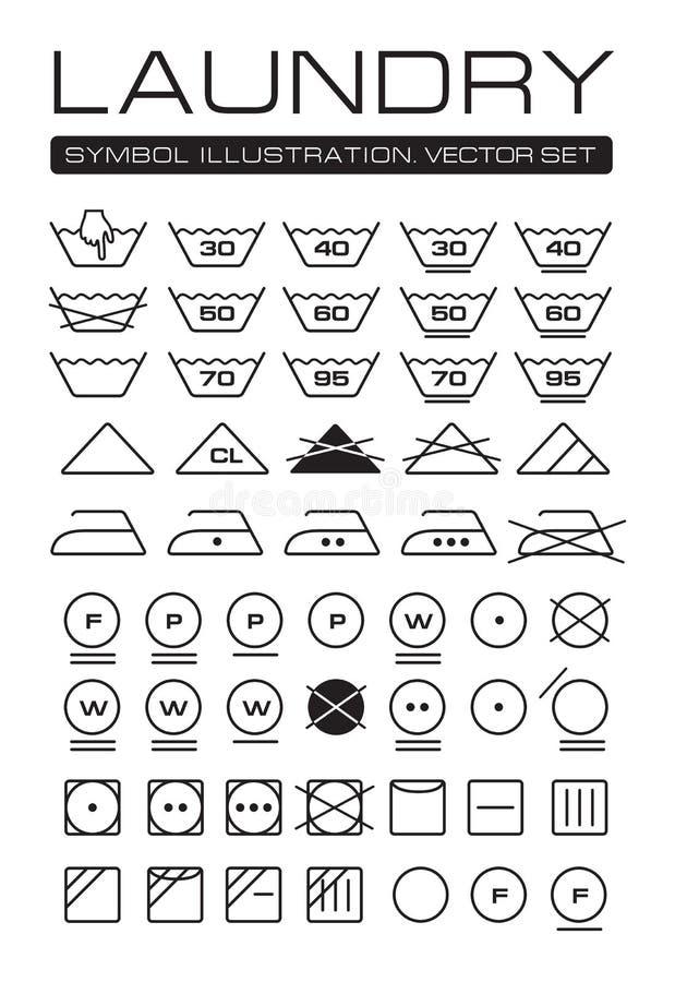 Coleção dos símbolos da lavanderia ilustração do vetor