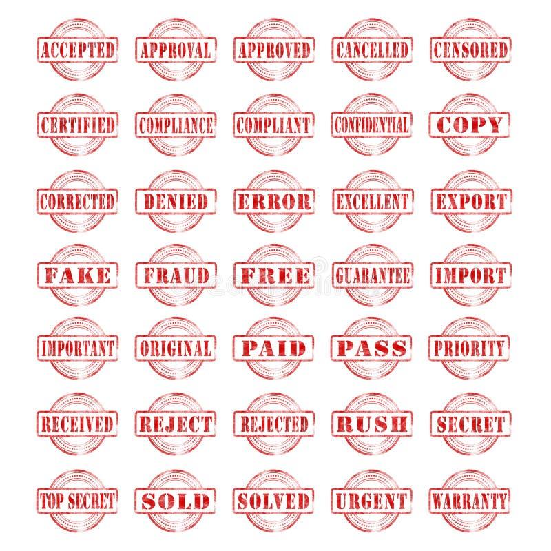 Coleção dos selos vermelhos da tinta isolados em um fundo branco ilustração royalty free