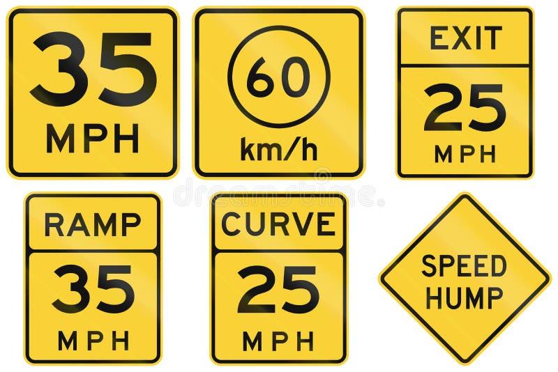 Coleção dos sinais consultivos da velocidade usados nos EUA ilustração do vetor