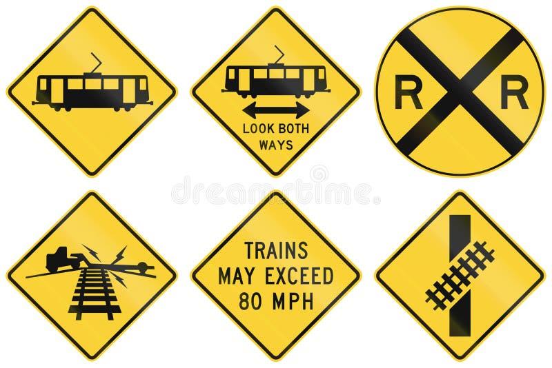 Coleção dos sinais de aviso railway usados nos EUA ilustração do vetor