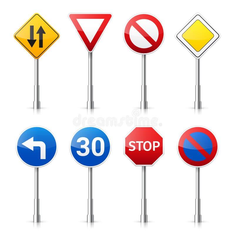 Coleção dos sinais de estrada no fundo branco Controle de tráfego rodoviário Uso da pista Parada e rendimento Sinais reguladores ilustração stock