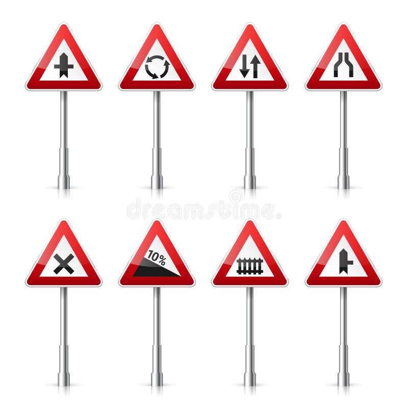 Coleção dos sinais de estrada no fundo branco Controle de tráfego rodoviário Uso da pista Parada e rendimento Sinais reguladores ilustração royalty free
