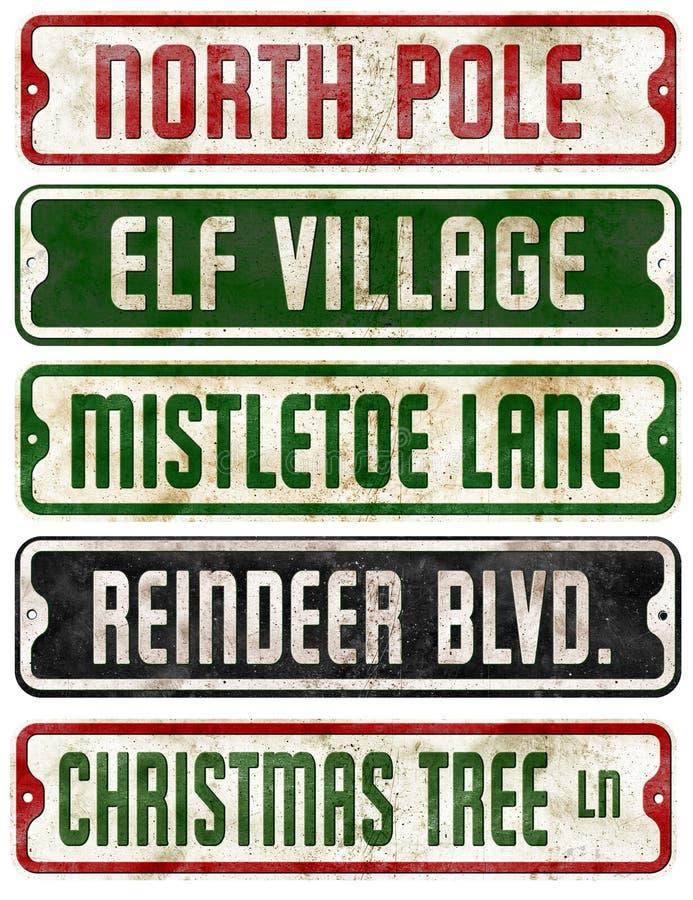 Coleção dos sinais de rua do tema do feriado do Natal fotografia de stock