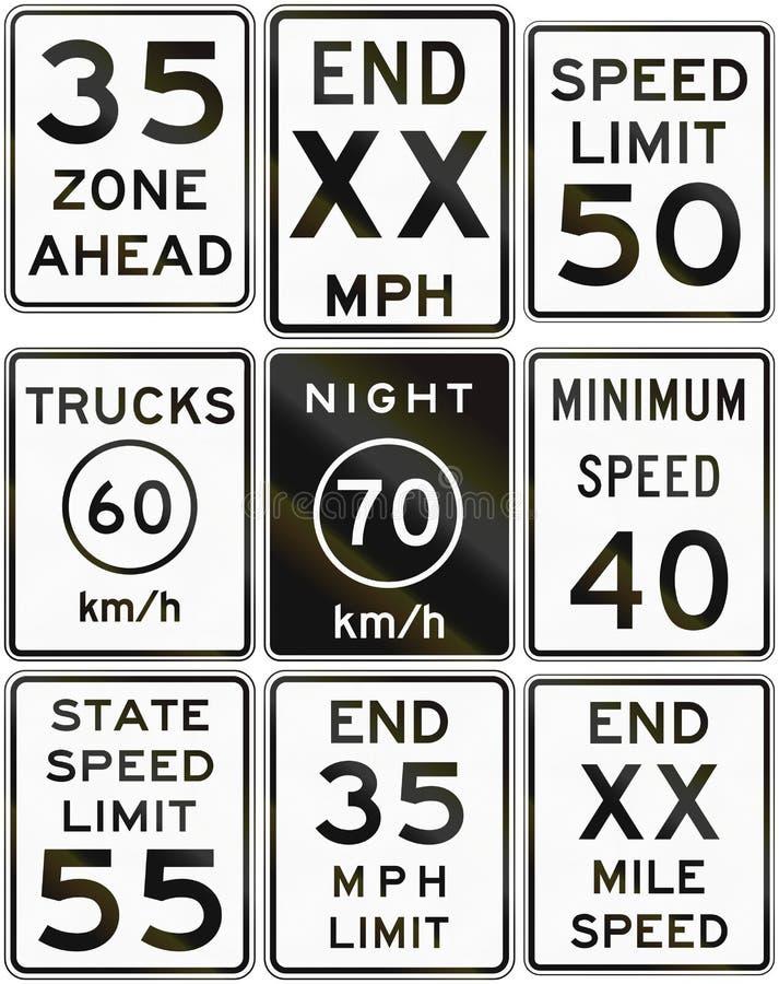 Coleção dos sinais do limite de velocidade usados nos EUA ilustração stock