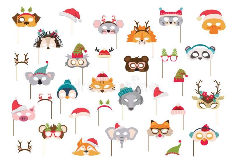 Coleção dos suportes animais da cabine das máscaras do inverno e da foto do Natal para crianças Máscaras bonitos e elementos dos  ilustração stock