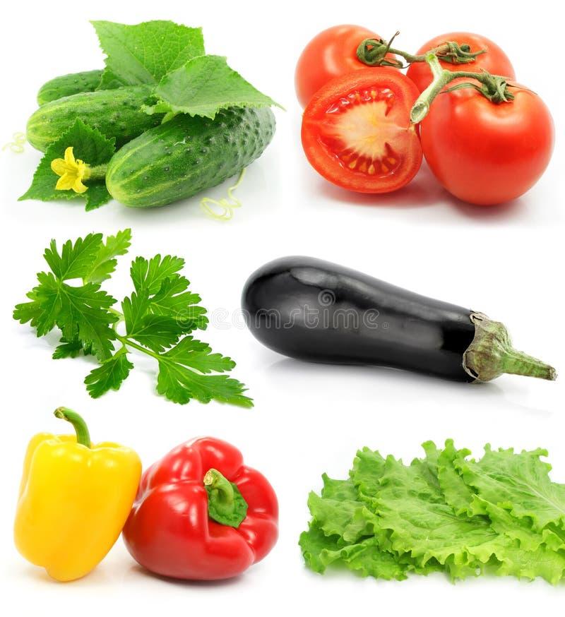 Coleção dos vegetais de frutas maduros isolados foto de stock