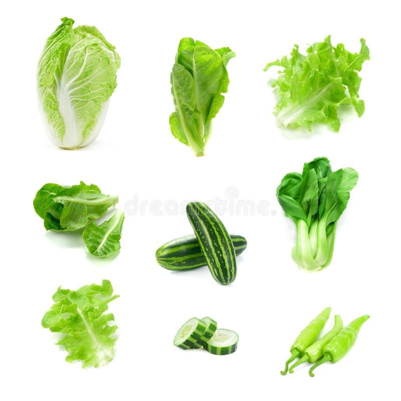 A coleção dos vegetais do lote isolados no fundo branco, ajustou o foto de stock