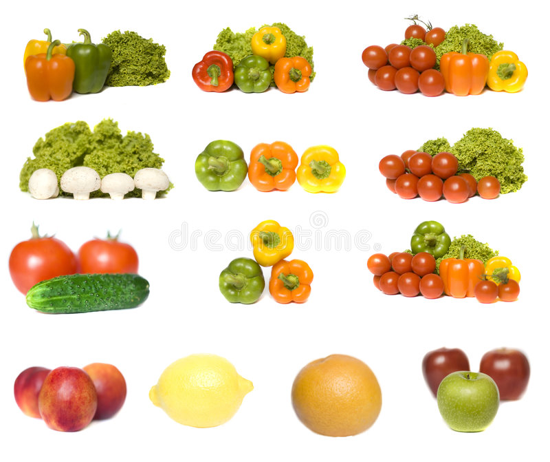 Coleção dos vegetais e das frutas imagens de stock royalty free