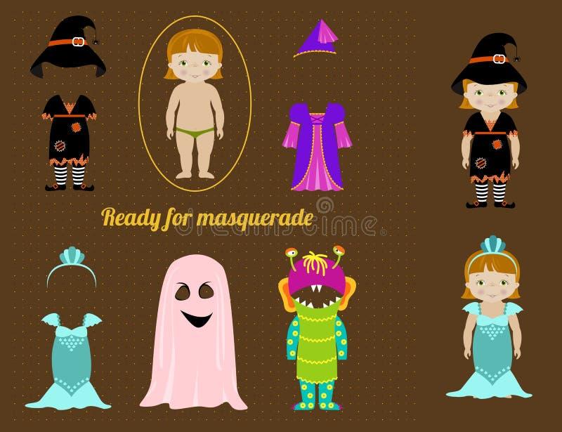 Coleção dos vestidos de fantasia para a menina ilustração stock