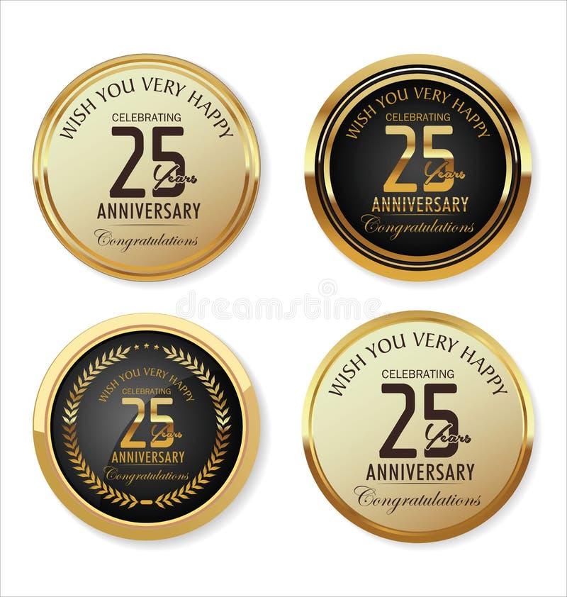 Coleção dourada da etiqueta do aniversário, 25 anos ilustração stock