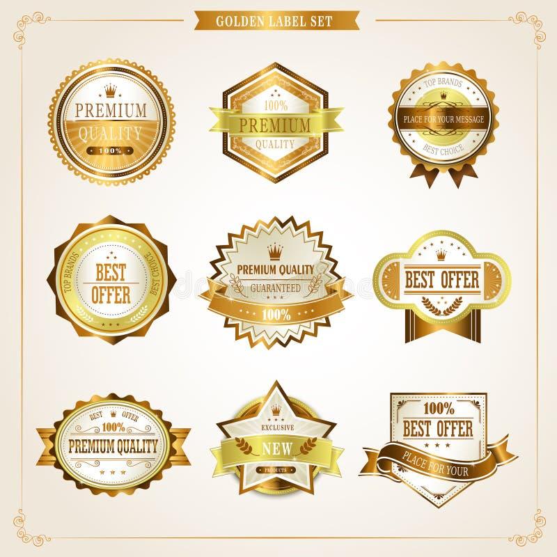 Coleção dourada das etiquetas da qualidade superior elegante ilustração royalty free