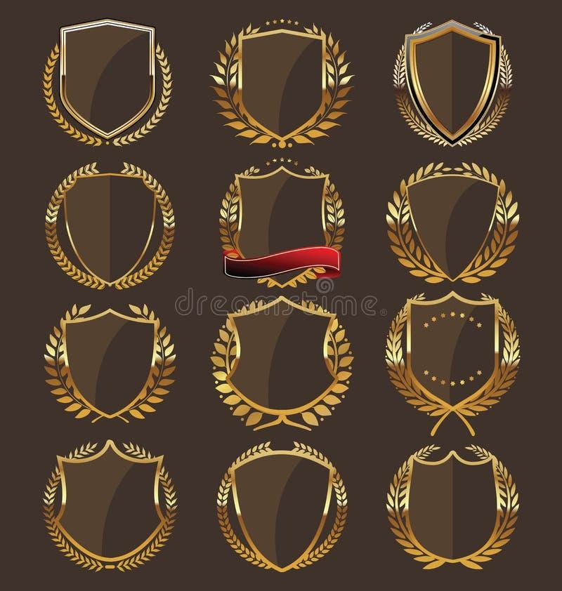 Coleção dourada do protetor ilustração royalty free