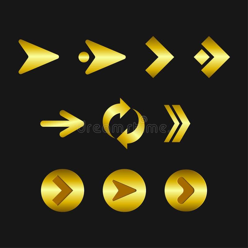 Coleção dourada moderna das setas de Infographic ilustração royalty free