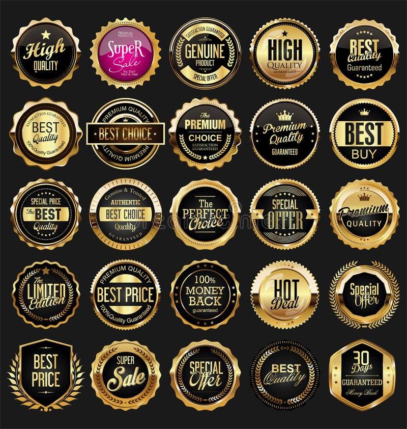 Coleção dourada retro do vetor das etiquetas e dos protetores das fitas ilustração do vetor