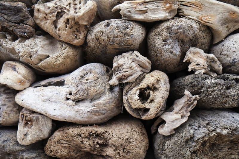 Coleção e texturas da madeira lançada à costa fotos de stock