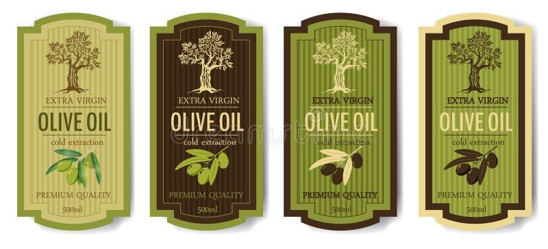 A coleção elegante ajustada das etiquetas ajustou-se para o azeite superior, vetor, isolado ilustração stock